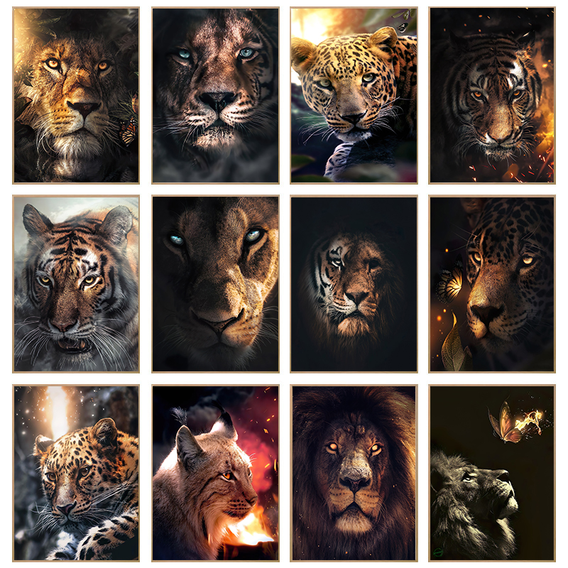 Animals Art Canvas Paintings On the Wall Art Posters And Prints Lion Tiger Leopard Animals Art Canvas Pictures Home Decoration