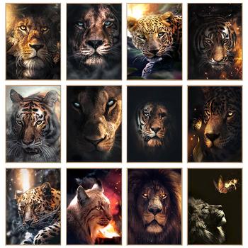 Obrazy ze zwierzętami płótno obrazy na ścianie plakaty i wydruki artystyczne lew tygrys Leopard obrazy ze zwierzętami obrazy na płótnie Home Decoration tanie i dobre opinie XIADARART CN (pochodzenie) Wydruki na płótnie Pojedyncze PŁÓTNO Wodoodporny tusz Zwierząt bez ramki abstrakcyjne lye2059