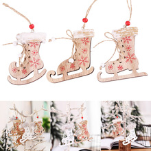 Hot Sale 3Pcs Christmas Decoration Wooden Xmas Tree Hanging Pendant Ornament Decor