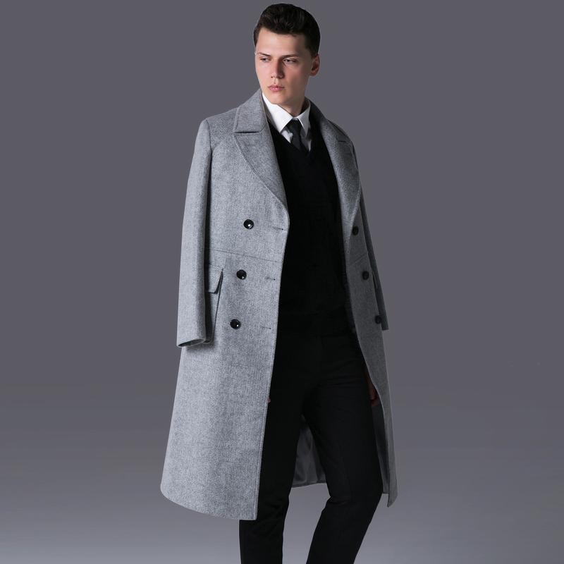 Mignlu Wool Mens Coats Luxury Double Breasted Long Style Woolen Men Trench Plus Size 6xl Business Outwear Gray Male Overcoat