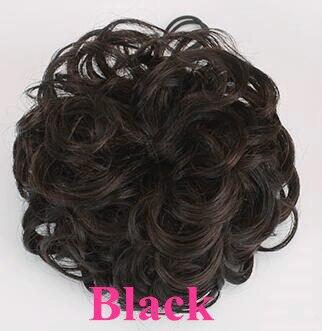 Шнурок шиньоны конский хвост наращивание волос булочка шиньон для создания прически бразильские человеческие волосы булочка пончик шиньоны волосы кусок парик не Реми - Цвет: Black- Curly