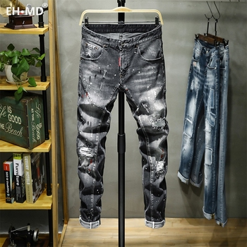 EH · MD® Ink Splash Jeans Men's Hole Paint Point Soft Soft Cotton Elastic Leather Label Black Gray Slim Pants Red Ear 2020 New