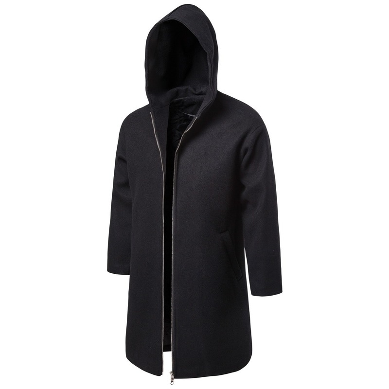 Business Men 39 s New Autumn and Winter Clothing Woolen Casual Windbreaker Solid Color Men 39 s Coat Zipper Up Hoody Trench Coat Wool in Wool amp Blends from Men 39 s Clothing