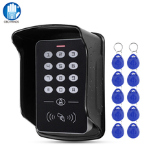 Sistema de Control de Acceso a la puerta teclado RFID cubierta impermeable al aire libre 125KHz controlador independiente lector abridor de puerta 10 Uds Keyfobs