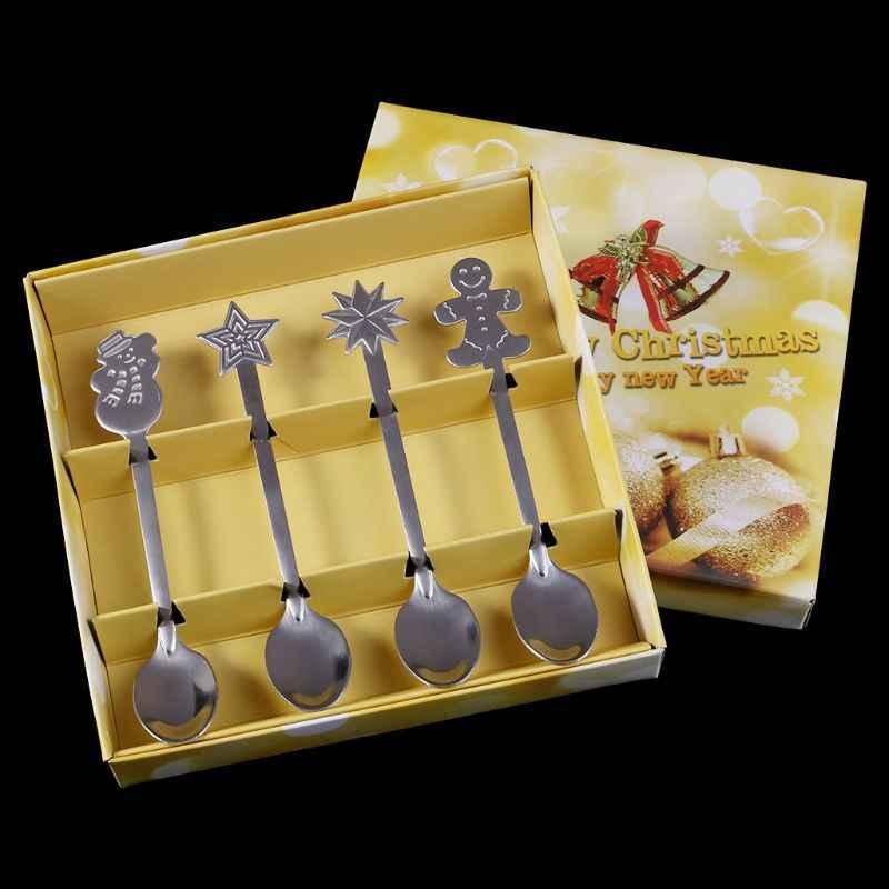 عيد الميلاد المائدة ملاعق القهوة الآيس كريم ملعقة الحلوى/ الحلويات ثلج شجرة الاطفال شرب الشاي مغرفة هدية صندوق حقيبة