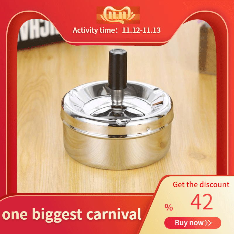 Smoking Accessories Stainless Steel Ashtray Round Push Down Cigarette Ashtray With Rotating Tray YU-Home