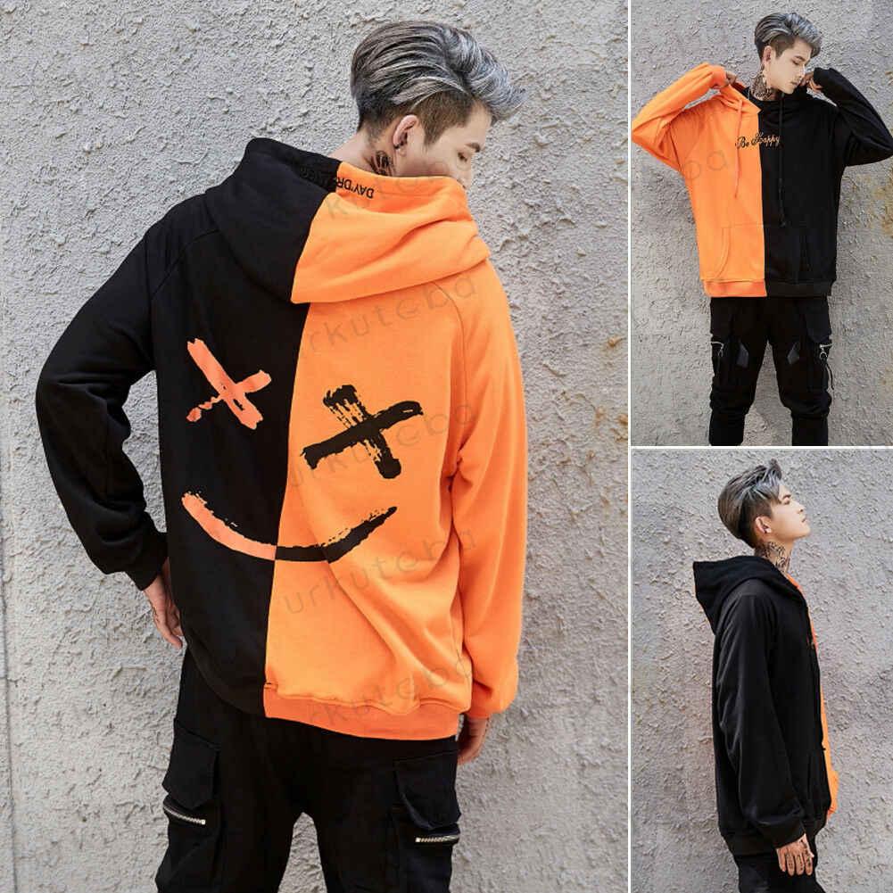 Hot Verkoop 2019 Cool Stijl Mannen Nieuwe Ontwerp Patchwork Hip-Hop Hoodies Mannelijke Fashion Lange Mouwen Hooded Sweatshirt Uitloper Plus Size