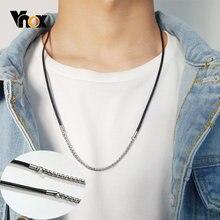 Мужские Стильные черные кожаные ожерелья vnox с цепочкой из