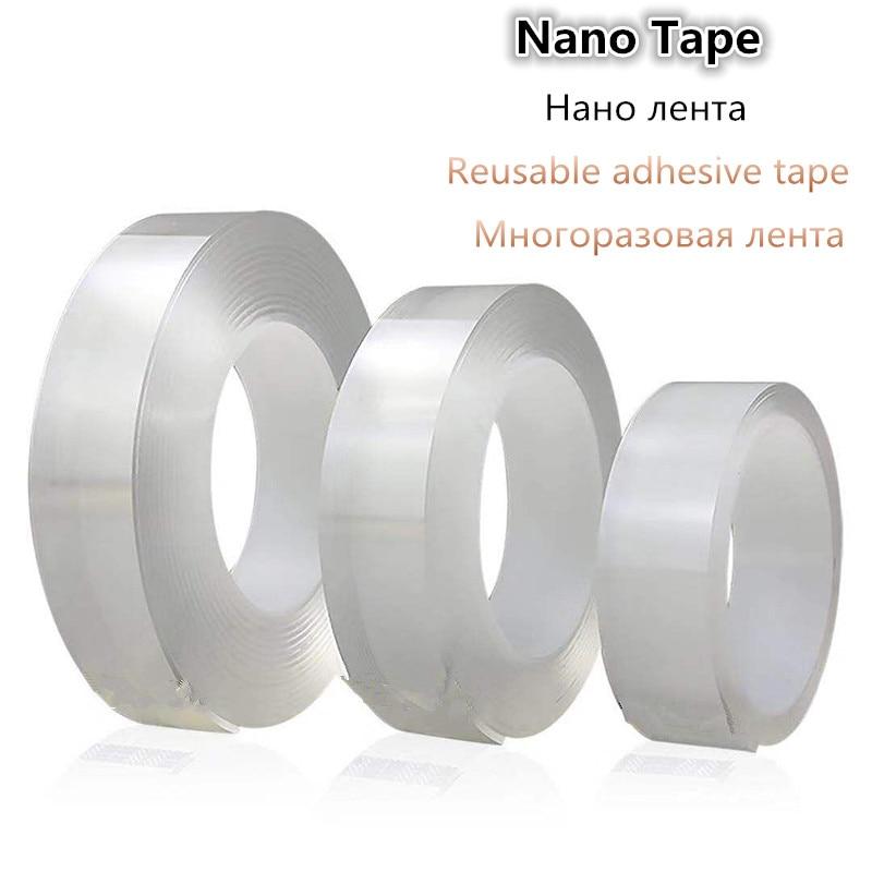 1 рулон многоразовая прозрачная двухсторонняя лента может мыть акриловую фиксирующую ленту нано-лента без следов Волшебная Автомобильная ...