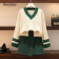 Autumn New Large Size Ladies' Sister V Neck Pullover Sweater Knit Irregular Skirt Two Pcs Clothing Set Leisure Suits XL 5XL