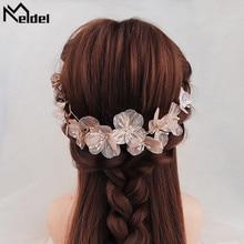 Meldel Woman jewelry hair accessories copper wire petal hair band bride headdress pearl handmade hair band dress headdress