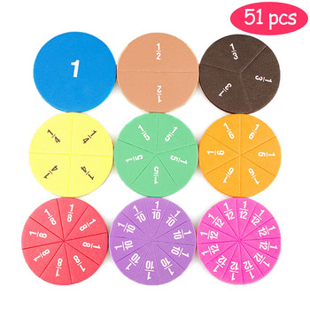 51pcs Magnetic Circular Fractions Counting Wooden Toys Children'S Early Education Math Operation Learning Educational Toy Gift