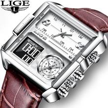 Relogio Masculino 2021 nowe skórzane męskie zegarki Top marka luksusowy zegarek kwarcowy dla mężczyzn wodoodporny elektroniczny zegar cyfrowy tanie tanio LIGE 24cm Moda casual QUARTZ Podwójny Wyświetlacz 3Bar Klamra CN (pochodzenie) STAINLESS STEEL 13mm Hardlex Kwarcowe Zegarki Na Rękę