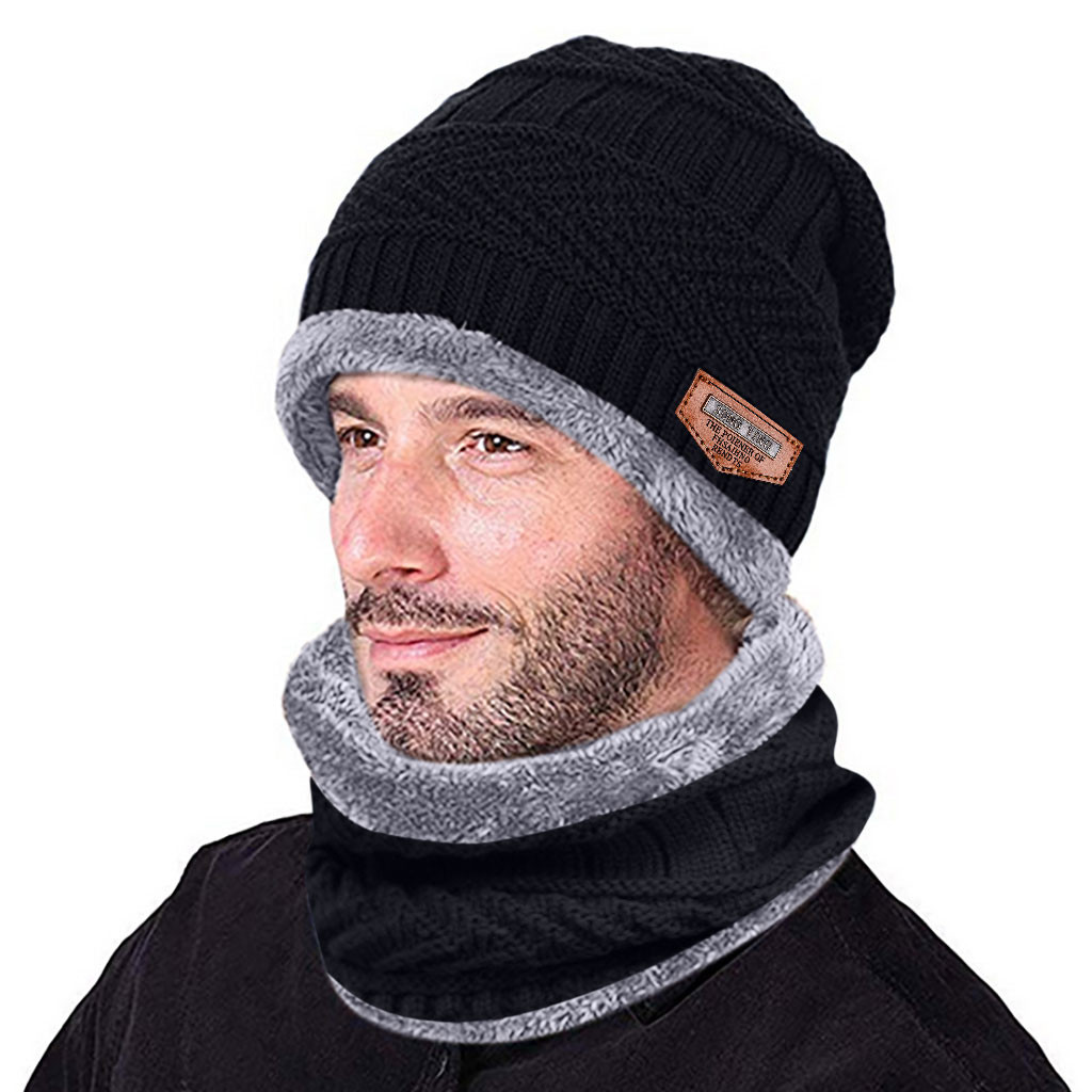 Winter Knitted Hat Scarf Set For Men Warm Thicken Fleece Beanie Hat Scarf Set Solid Knit Windproof Outdoor Ski Cap Ring Scarf
