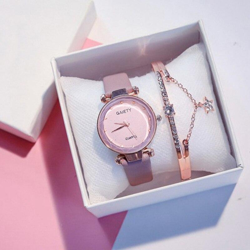 Dropshipping Retro Watch Women 2pcs Set Starry Sky Ladies Bracelet Watch Casual Leather Quartz Wristwatch Reloj Mujer Relogio
