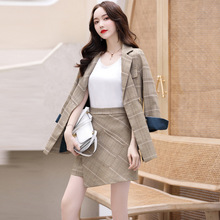 High quality temperament women's suits skirt suit 2019 autumn casual full-sleeve plaid jacket female Short skirt two-piece