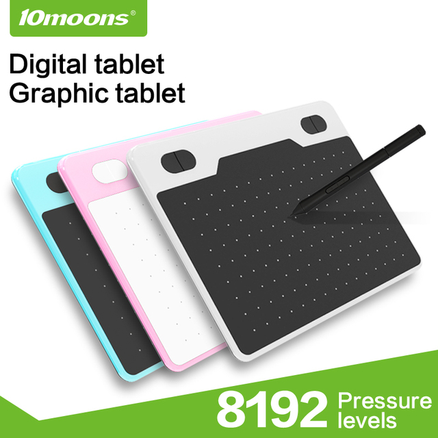 10moons 6 Inch Ultralight Graphic Tablet 8192 Levels Digital Drawing Tablet Battery-Free Pen Compatible Android Device 1