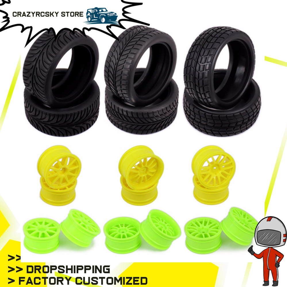 1/10 Rubber Tire RC Racing Car Tires+sponge On Road 52mm Wheel Rim Fit For HSP HPI RC Car Part Diameter 65mm Tires