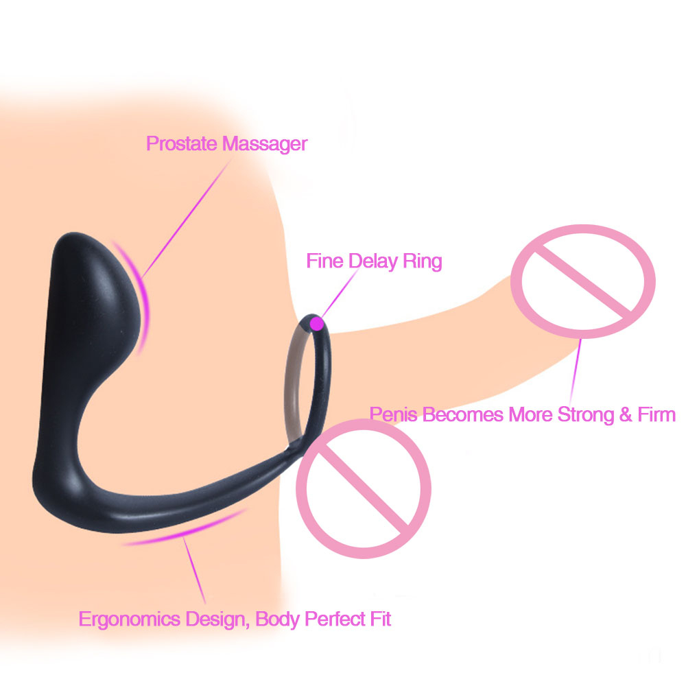 Climax Fantasy <font><b>Silicone</b></font> Penis <font><b>Ring</b></font> <font><b>Sex</b></font> <font><b>Toy</b></font> For Men,3 In 1 Anal Plug,<font><b>Cock</b></font> And Prostate Massage Stimulation Adult Erotic Product image