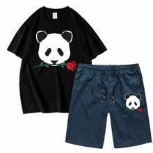 Мужской комплект Риот общество тройники и шорты панда розовая спортивная футболка с короткими рукавами комплект 2 шт. свободного покроя верхний тройник мужчины одежда оптом