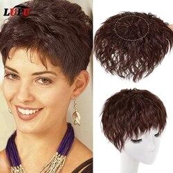 Натуральные черные и коричневые человеческие волосы LUPU, Топпер с челкой, наращивание волос на зажиме, шиньоны из термостойкого волокна для ...