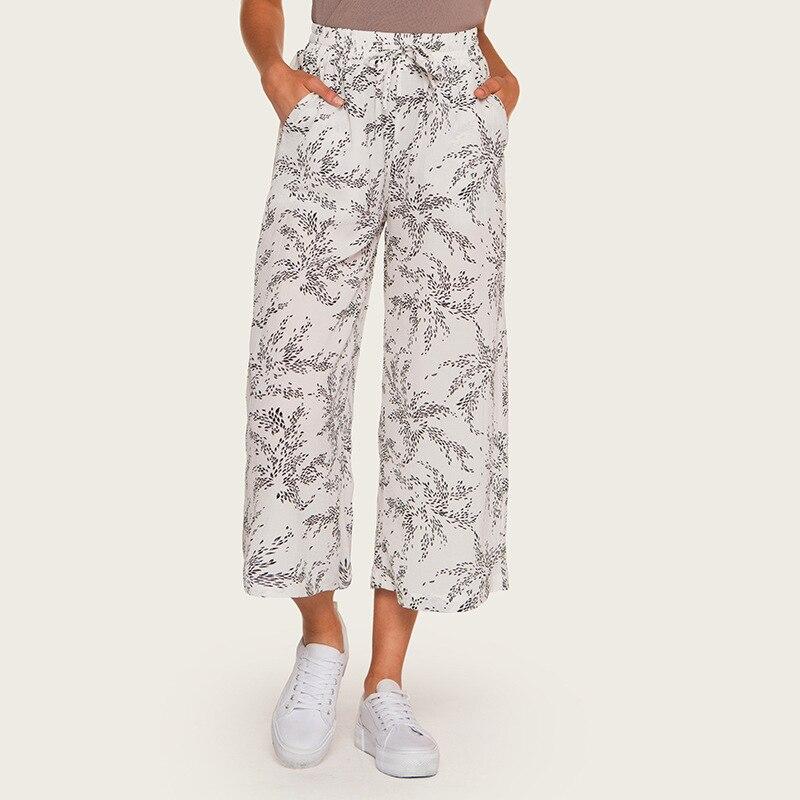 Wasteheart Summer Autumn Women Fashion White Long Loose Pants Casual High Waist Mid Calf Female Pant Printed M L Plus Size