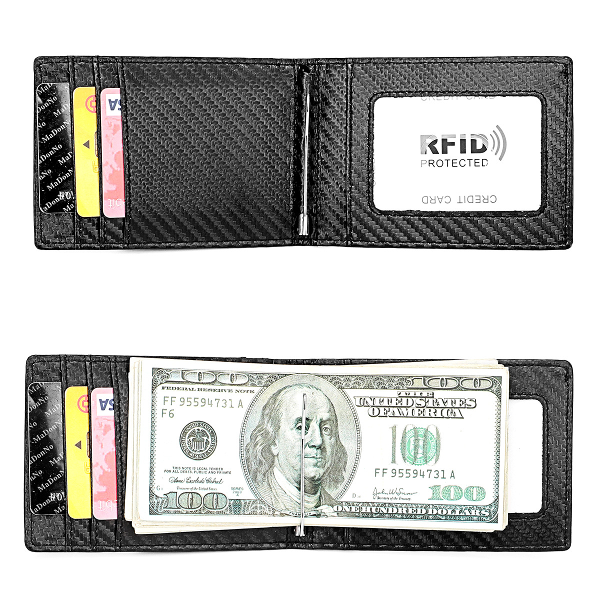 Couro genuíno fino carteira rfid bloqueando carteiras