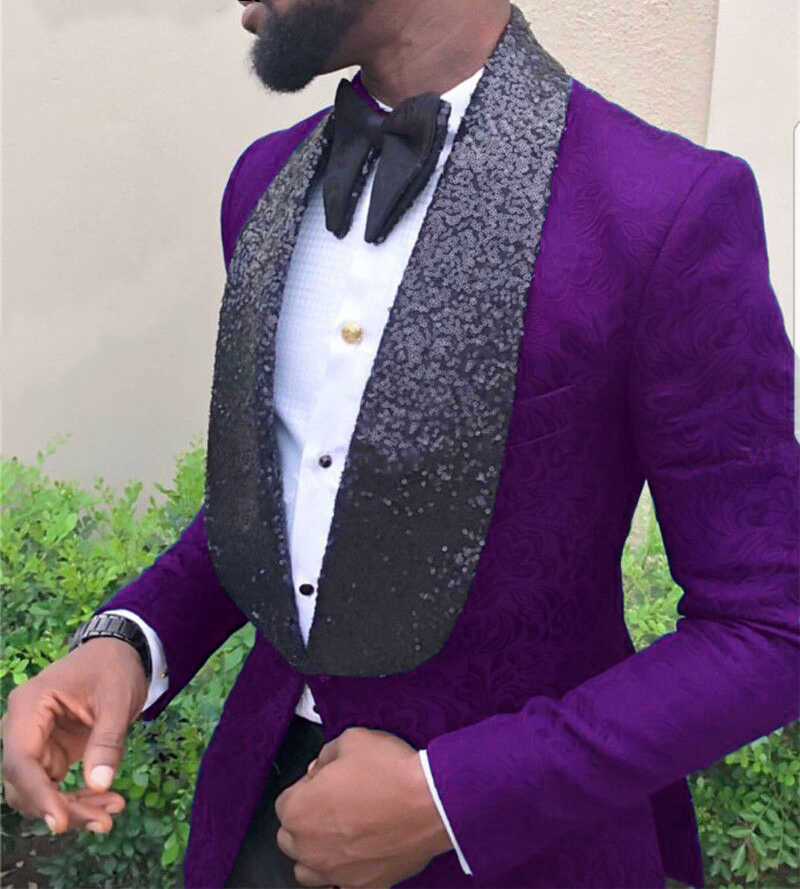 Newest Men Suits Purple and Black Groom Tuxedos Shawl Sequin Lapel Groomsmen Wedding Best Man ( Jacket+Pants+Bow Tie ) C690