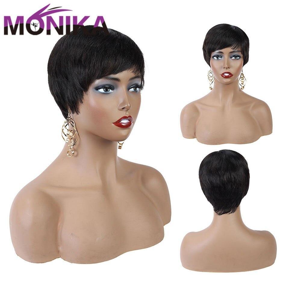 Short Pixie Cut Wig Human Hair Short Bob Wig For Black Women Brazilian Pixie Wig Machine Made Non-Remy Natural Hair Wigs Monika