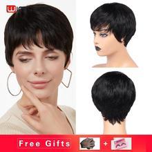 Wignee krótkie proste włosy ludzkie peruki darmowe Bang dla czarnych kobiet Remy brazylijski naturalne miękkie włosy fryzura Pixie tanie ludzkie włosy peruka