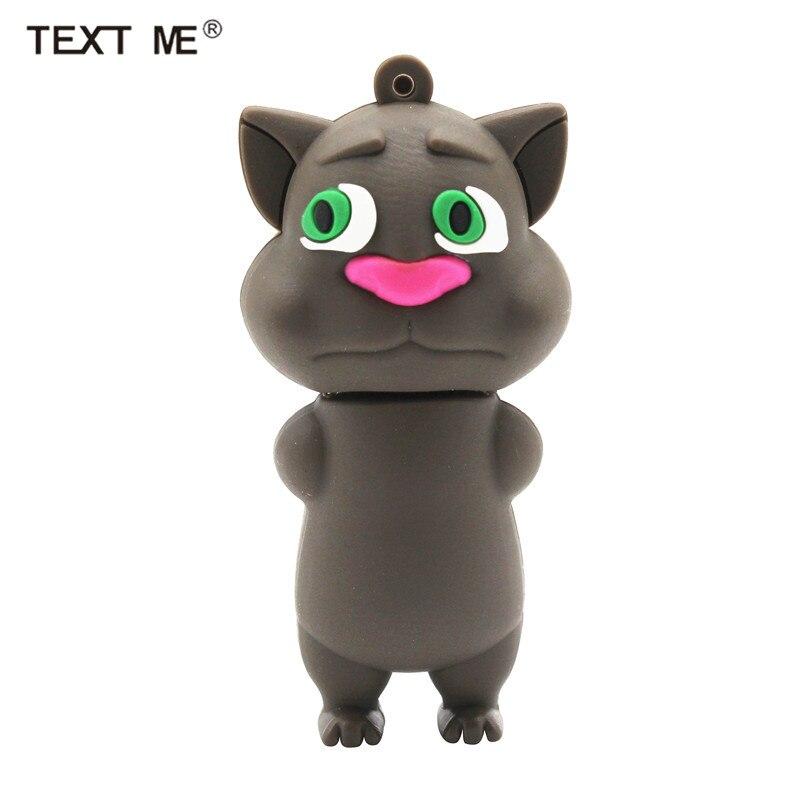 TEXT ME Cute Cartoon Talking Cat Model Usb2.0 4GB 8GB 16GB 32GB 64GB Pen Drive USB Flash Drive Creative Gifty Stick Pendrive