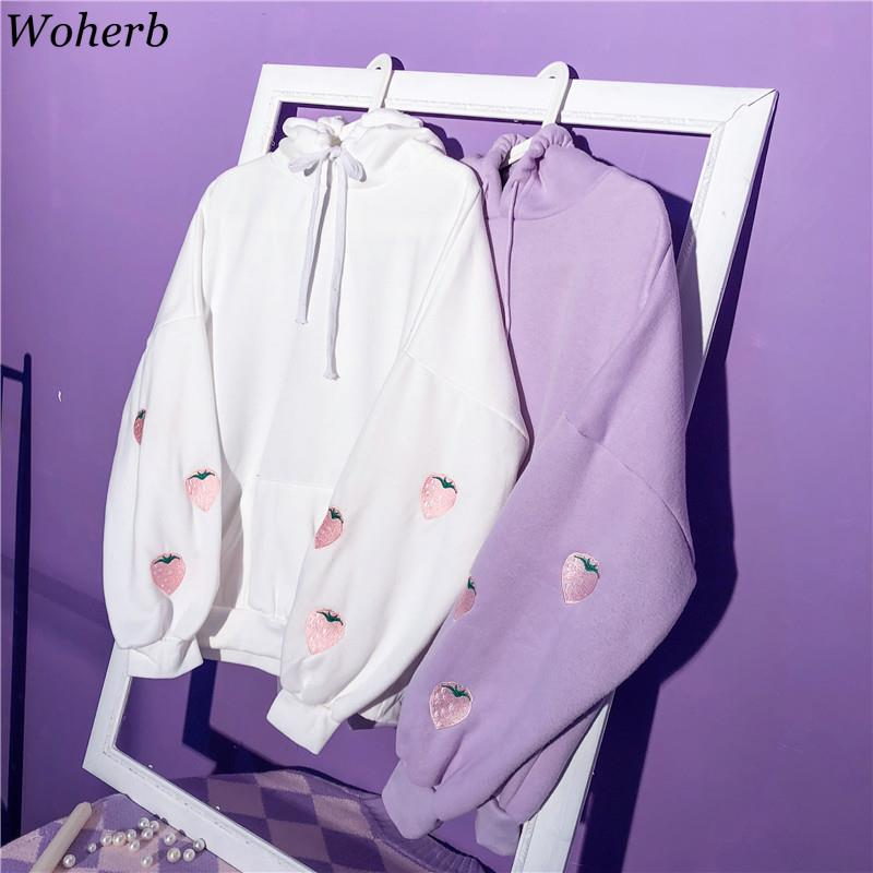 Woherb Japanese Fashion Cute Women Hooded Pullover Long Sleeve Female Sweatshirts Clothes Embroidery Strawberry Fleece Hoodies