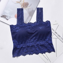 Sexy Casual Lace Embroidered Camis Sexy Women's Lace Tube Top  Female Tank Top NS letter embroidered pleated tube top