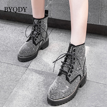 BYQDY Sexy Genuine Leather Woman Boots Ankle Cow Footwear Women Round Toe Crystal Motorcycle Female Boot Thick Heels Shoes