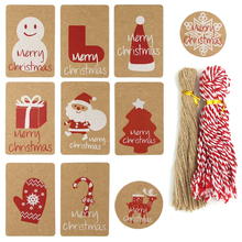 Kraft Paper Tags Labels Merry Christmas Hang Tag With Rope Handmade DIY Craft Xmas Gift Wrapping Supplies Party/Home Decoration