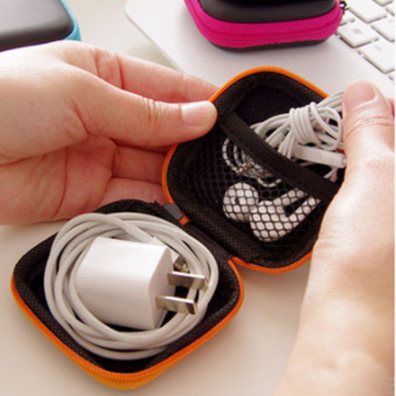 Cables Storage Box Case Square Earphone Wire Organizer Container Coin Headphone Protective Data Line Storager