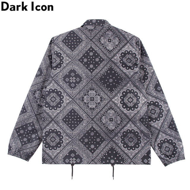 Dark Icon Bandana Hip Hop Jacket Men Turn-down Collar Paisley Street Fashion Men's Jacket Streetwear Jackets for Man 4XL