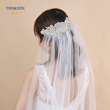 TOPQUEEN Bridal Veil Wedding Headpieces  White Veil with Rhinestones  Ivory Veil for Brides  1 Without comb Veil Tier  VS26 black veil brides black veil brides black veil brides