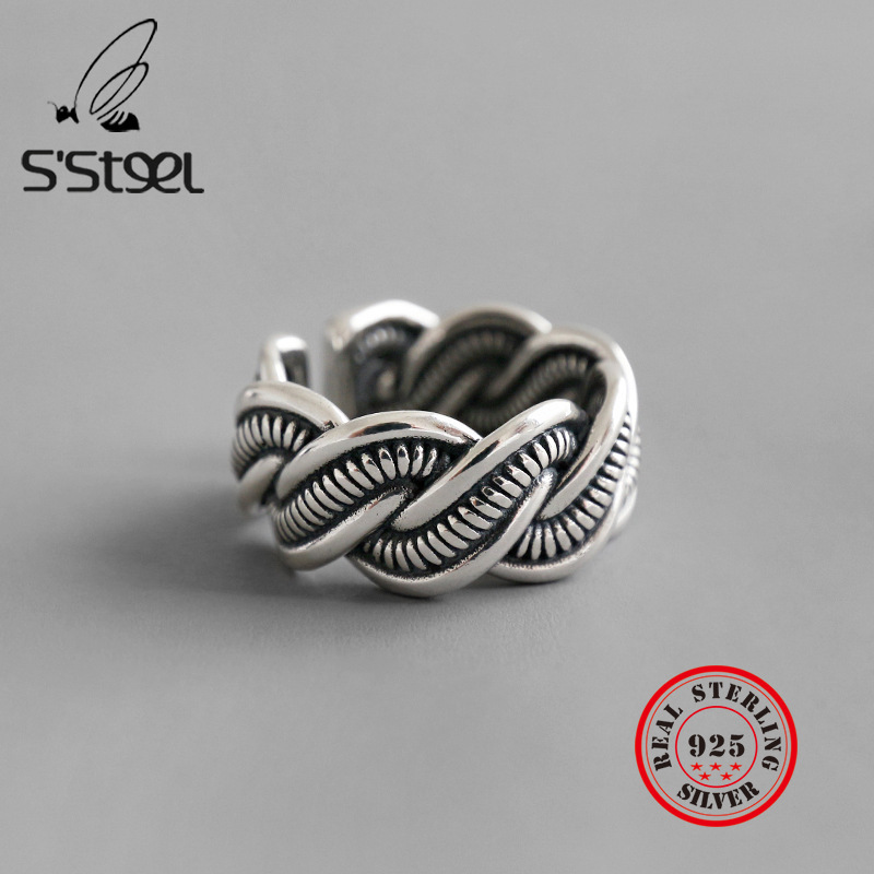 S'STEEL Statement Ring 925 Sterling Silver Rings For Women Vintage Anillos De Plata De Ley Mujer Bijoux Femme 2019 Fine Jewelry