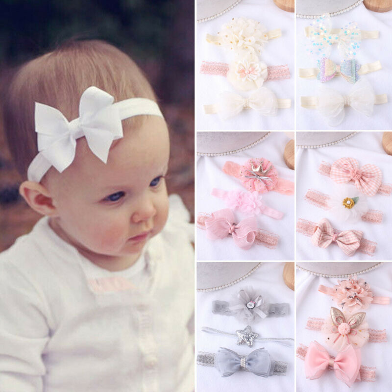 3Pcs Beauty Baby Girls Infant Toddler Flower Bow Headband Hair Band Headwear Accessories