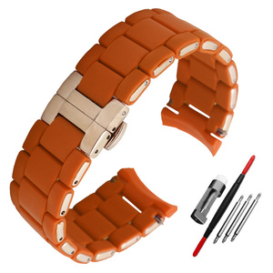Image 5 - Silicone Rubber Watchband silicone wristband bracelet Rose gold buckle for AR5905 AR5906 AR5919 AR5920  20 23mm watch band strap