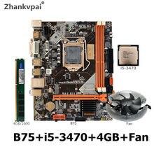 Комплект материнской платы B75 LGA 1155 с процессором Intel Core I5 3470, 1 шт. * 4 Гб 1600 МГц DDR3 + память для настольного компьютера с вентилятором SATA III USB 3,0 ...