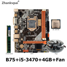 B75 LGA 1155 Motherboard set with Intel Core I5 3470 CPU 1Pcs*4GB 1600MHz DDR3+FAN Desktop Memory SATA III USB 3.0 VGA HDMI
