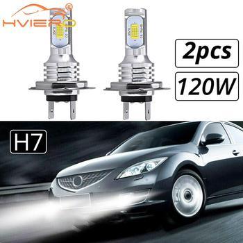 2X samochodów LED CSP Mini H7 H4 H11 H8 H1 H3 9005 HB3 9006 HB4 120W Chip oświetlenia u nas państwo lampy Auto samochodów reflektor Turn żarówki sygnałowe światła przeciwmgielne tanie i dobre opinie HVIERO CN (pochodzenie) All Car 12 v 6000 k Universal Car Models 120W Source 12v Automotive Led 8000lm 30000hrs Led Diodes Near Far Light Car Styling