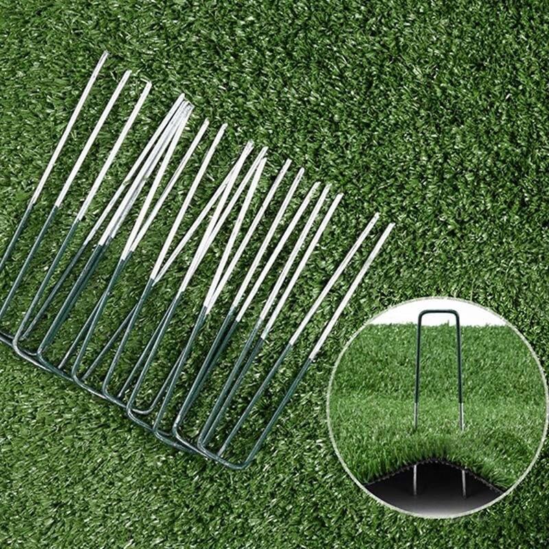 50 Half Green Artificial Grass Turf U Pins Metal Galvanised Pegs Staples Weed