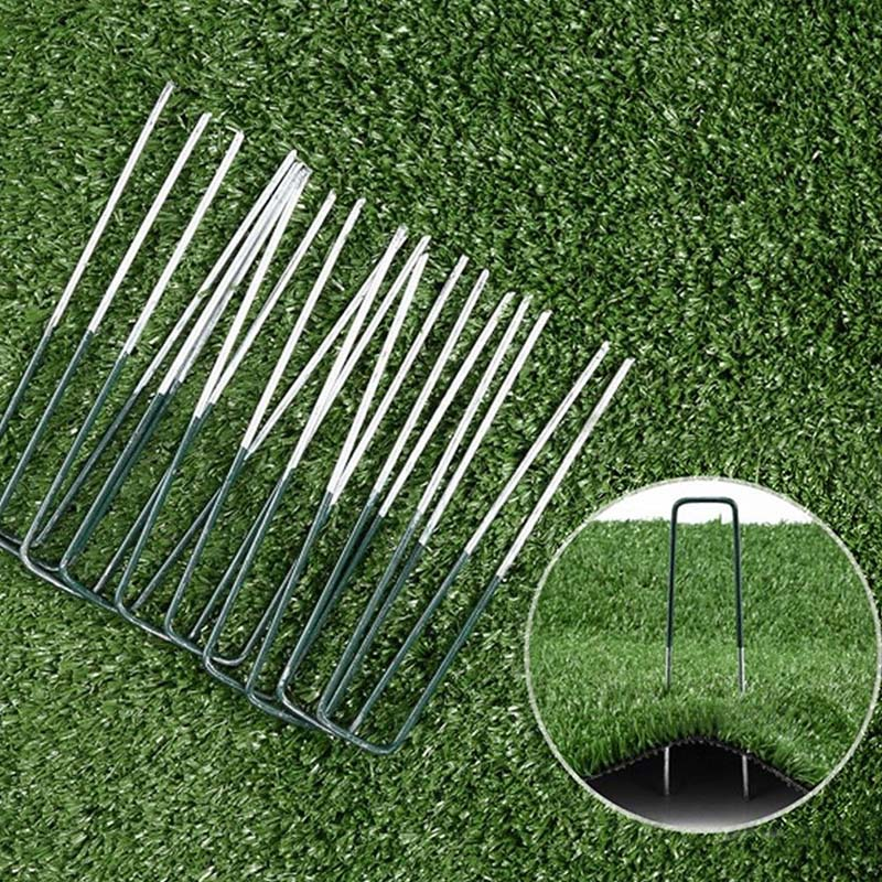 New Half Green Artificial Grass Turf U Pins Metal Galvanised Pegs Staples Weed Household Tools Garden Plant Fence Durable Fences