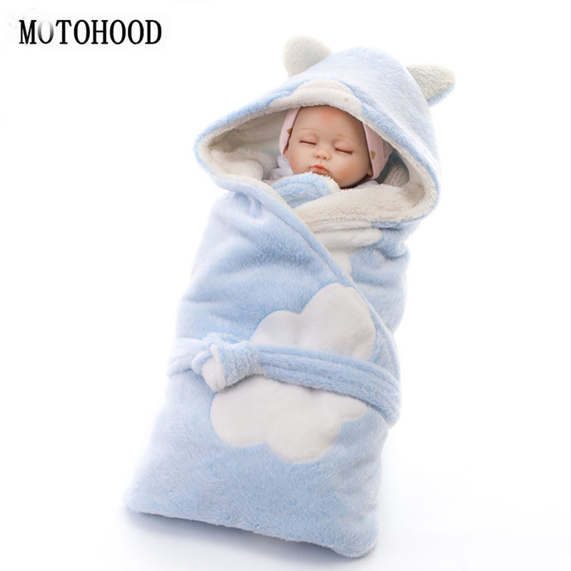 MOTOHOOD Baby Blanket Winter Baby Boys Girls Blanket Wrap Double Layer Velvet Baby Swaddle Sleeping Bag Fleece Bedding Blankets