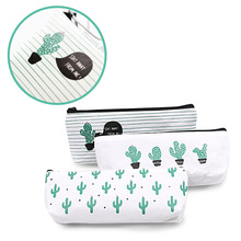 Creative Cactus Pencil Bag, Small Fresh Canvas Simple Stationery Box Pen Primary School Supplies