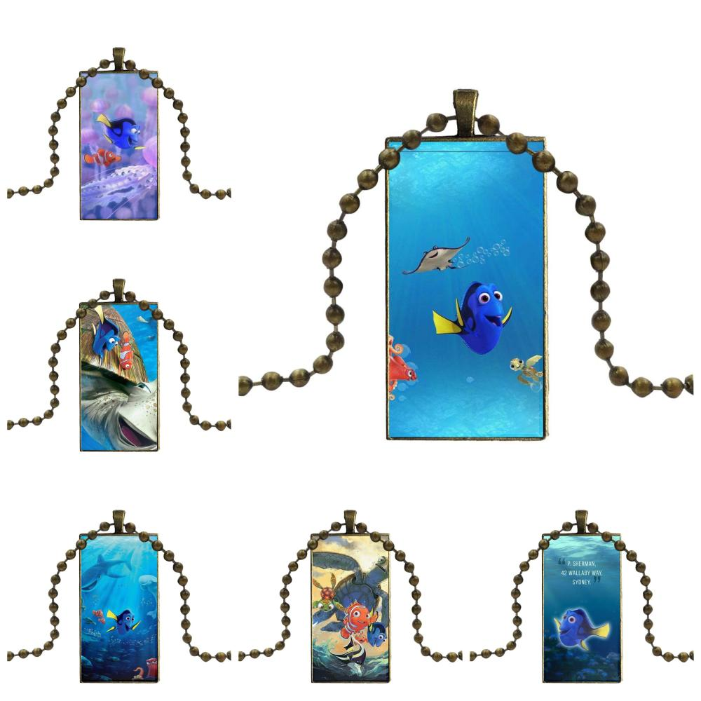 Dory Finding Nemo Necklace Fashion Long Chain With Rectangle Necklace Jewelry For Women Girls Ladies Statement Best Gift image