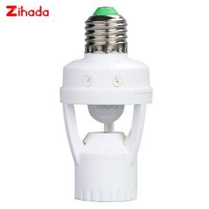 AC100-240V Socket E27 Converter With PIR Motion Sensor Ampoule LED E27 Lamp Base Intelligent Light Bulb Switch Drop Shipping(China)